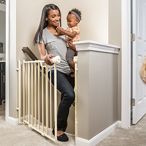 This Narrow Stairway Gate Allows You To Squeeze And Push Down The Button To  Open It With Just One Hand. It Then Swings Open In The ...